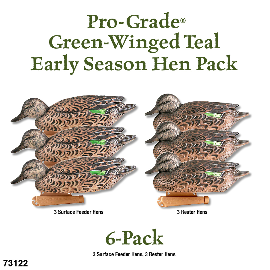 Avery GHG Pro Grade Green Winged TealHen Decoys Pk6