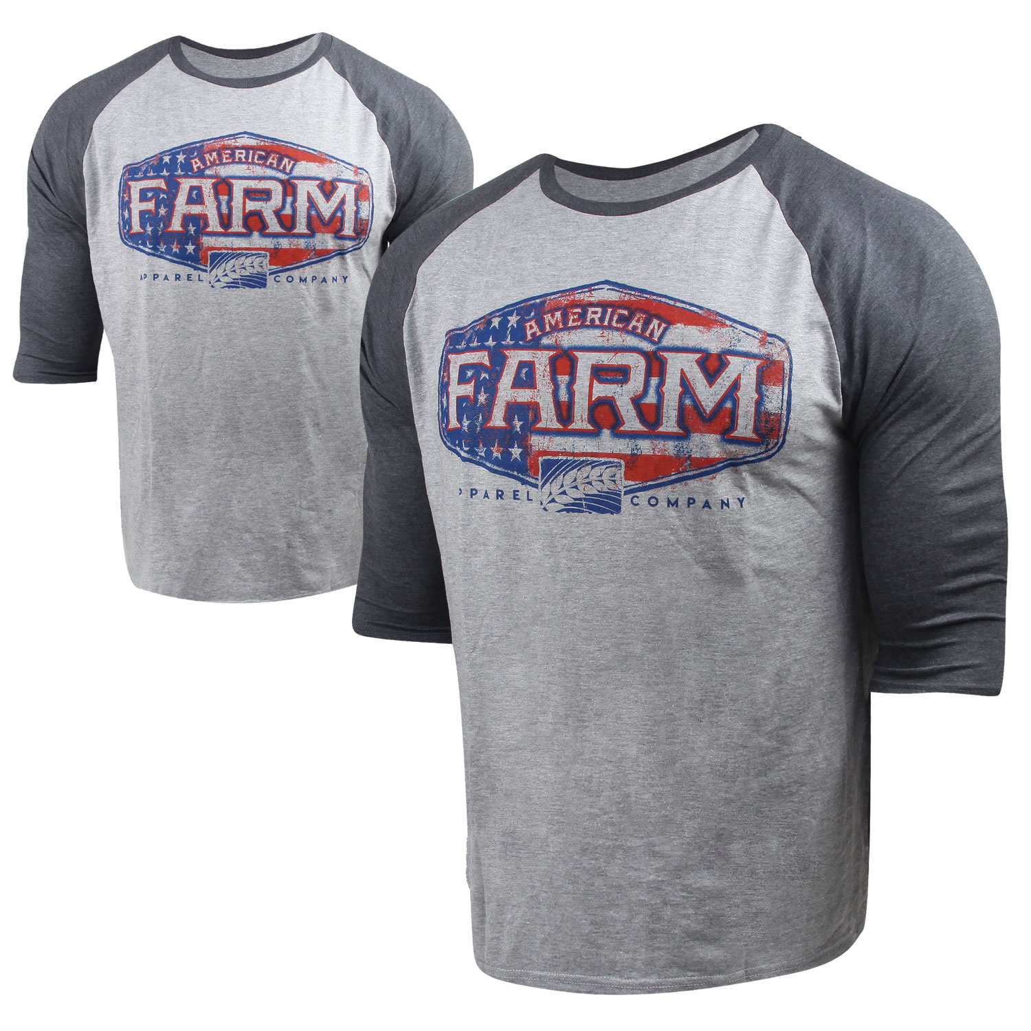 American Farm Super Soft 34 Raglan Shirt S Charcoal Hthr