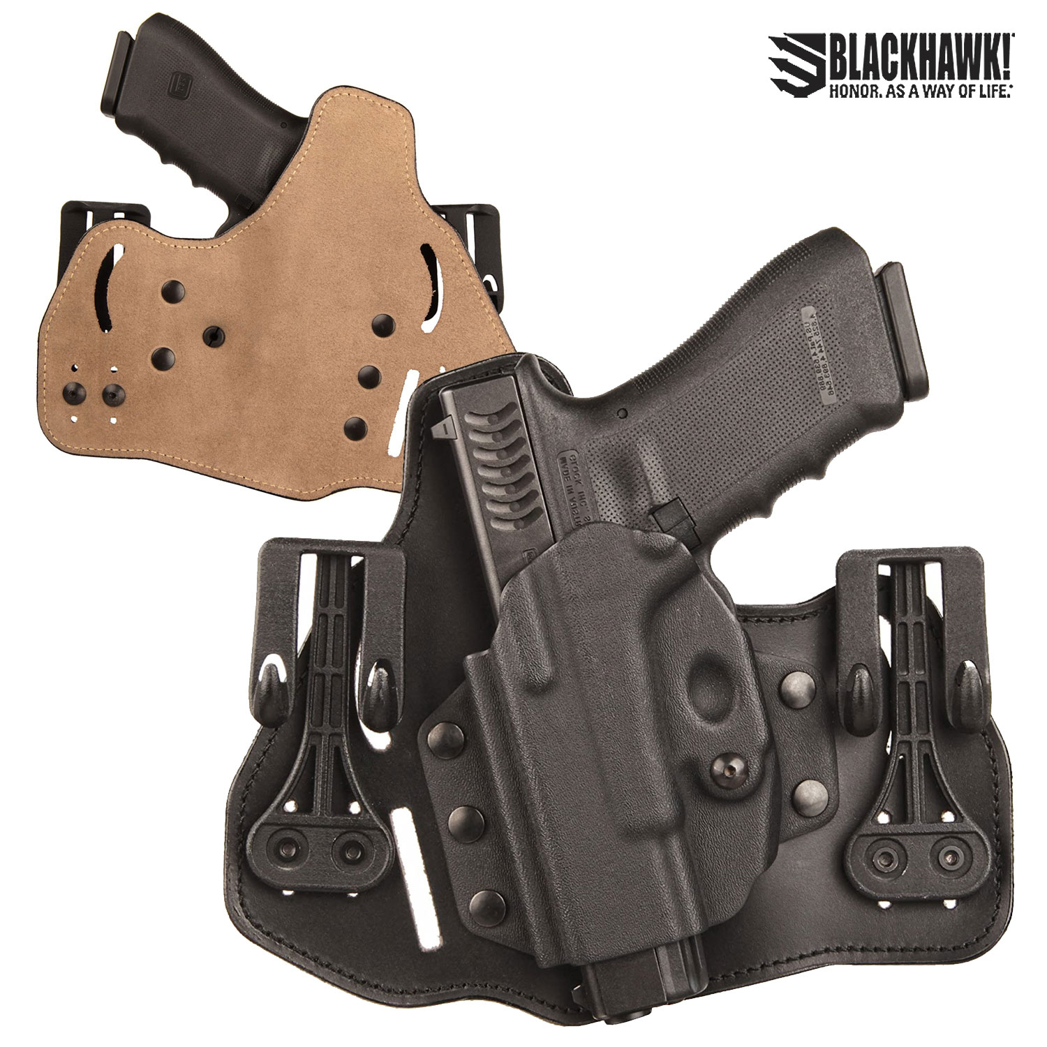 Blackhawk 3 Slot Leather Tuckable Pancake Holster Glock 45 S&W M&P LH