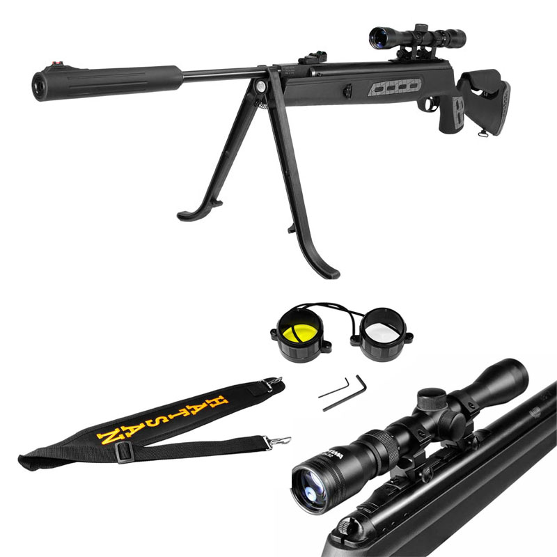 "New. Combo: includes 3-9x32 Optima scope, mount, scope lens covers, bipod, adjustable sling. Permanently attached silencer also acts as muzzlebrake. Black synthetic stock. Spring-piston, breakbarrel, single-shot, rifled steel barrel, 2-stage adjustable Quattro trigger, 11mm & Weaver optics rail. Fixed TruGlo fiber optic front sight (red, 0.600"") & fully adj TruGlo rear sight (green, 0.035"")."