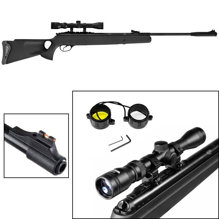 "New. Combo: includes 3-9x32 Optima scope, mount, scope lens covers, muzzlebrake. Black synthetic stock. Single-shot, rifled steel barrel, 2-stage adjustable Quattro trigger, 11mm & Weaver optics rail. Fixed TruGlo fiber optic front sight (red, 0.600"") & fully adj TruGlo rear sight (green, 0.035"")."