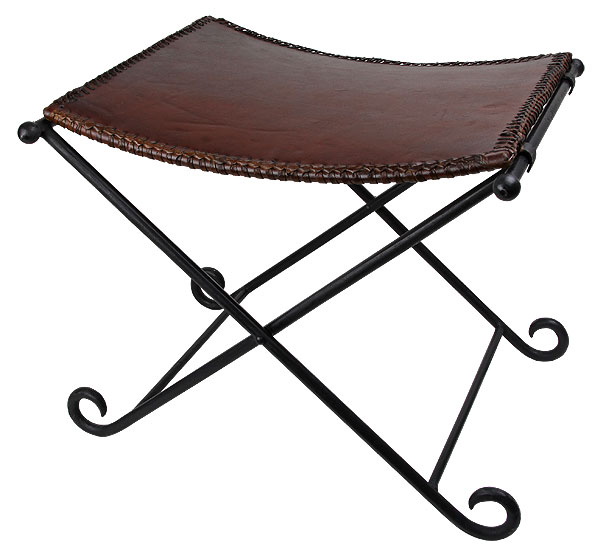 Handsome dark brown, genuine leather seat atop extremely sturdy iron legs. Legs can fold flat when not in use for ease of transport or storage. Dimensions: 21.25''x18''x17.25''.